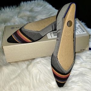 NIB Rothy's 8 (fits 7.5) Inverse Stripe Point Flat